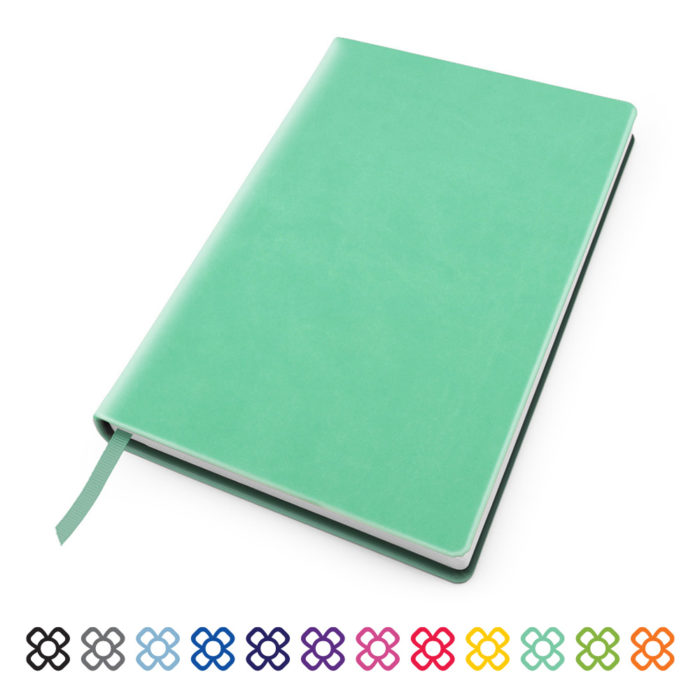 Soft Touch Notebook in a choice of 12 colours.