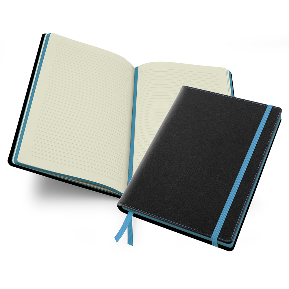 Accent Notebook in Black and Sky Blue