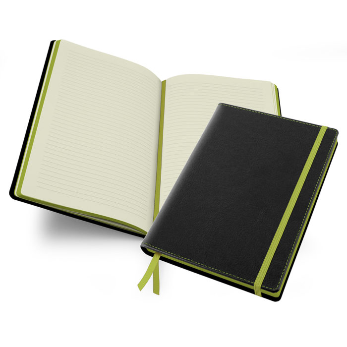 Accent Notebook in Black & Lime Green