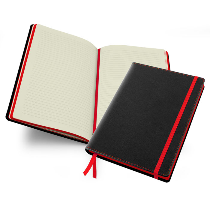 Accent Notebook in black and red.