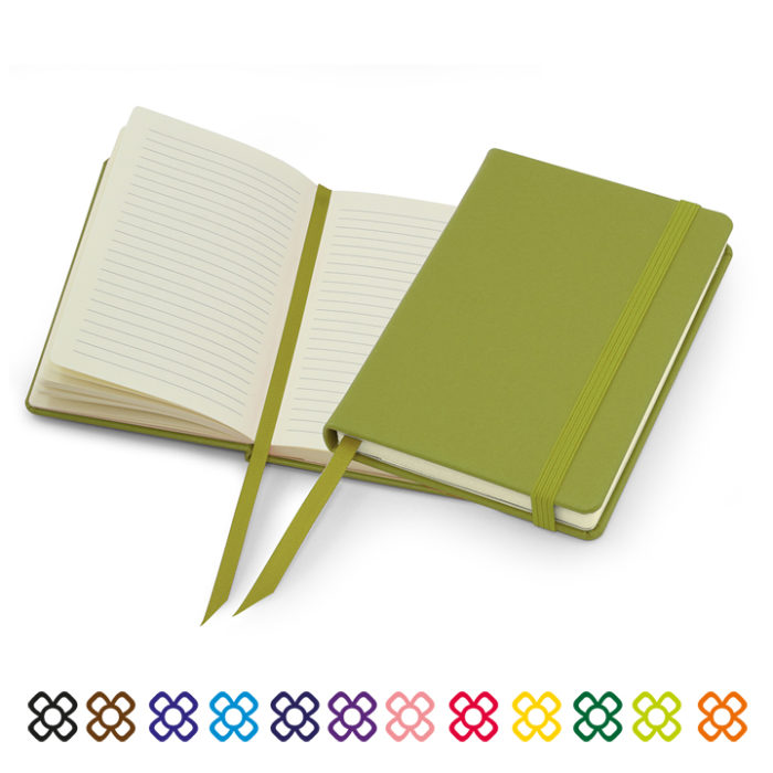 Lifestyle A6 Casebound Notebook with Strap in a choice of 12 colours