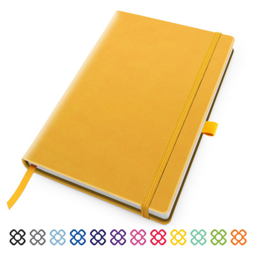 Deluxe Soft Touch A5 Notebook with Elastic Strap & Pen Loop in 12 colour ways.