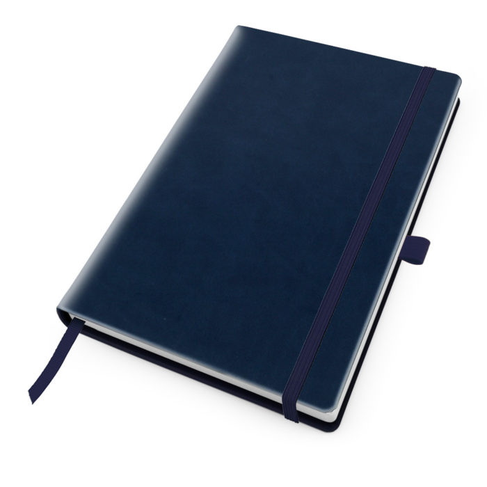 Marine Navy Deluxe Soft Touch A5 Notebook with Elastic Strap & Pen Loop.
