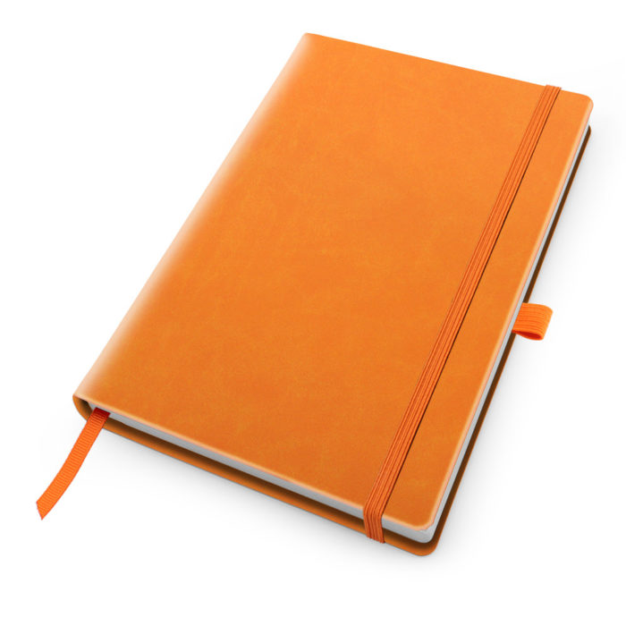 Orange Deluxe Soft Touch A5 Notebook with Elastic Strap & Pen Loop.