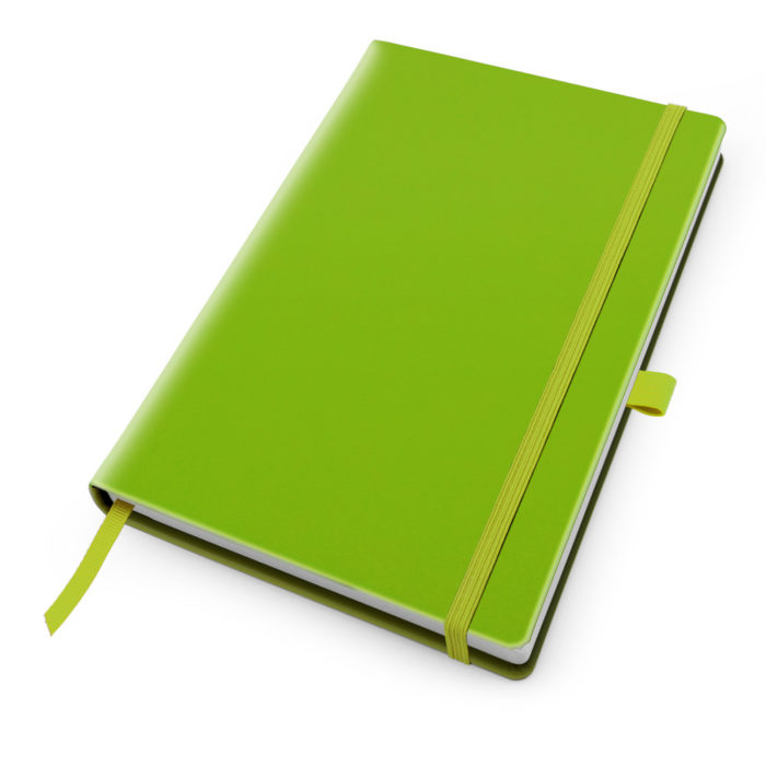 Pea Green Deluxe Soft Touch A5 Notebook with Elastic Strap & Pen Loop.