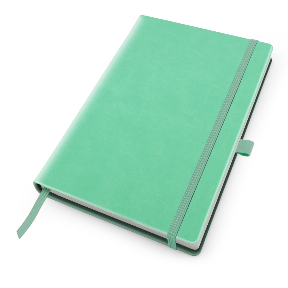 Peppermint Deluxe Soft Touch A5 Notebook with Elastic Strap & Pen Loop.