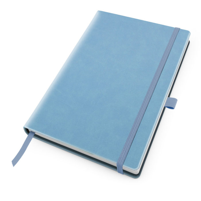 Powder Blue Deluxe Soft Touch A5 Notebook with Elastic Strap & Pen Loop.