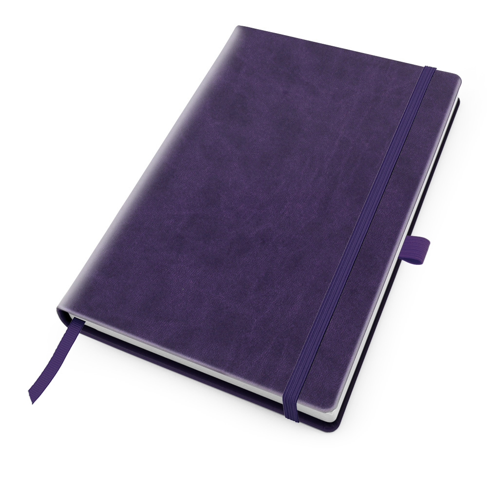 Purple Deluxe Soft Touch A5 Notebook with Elastic Strap & Pen Loop.