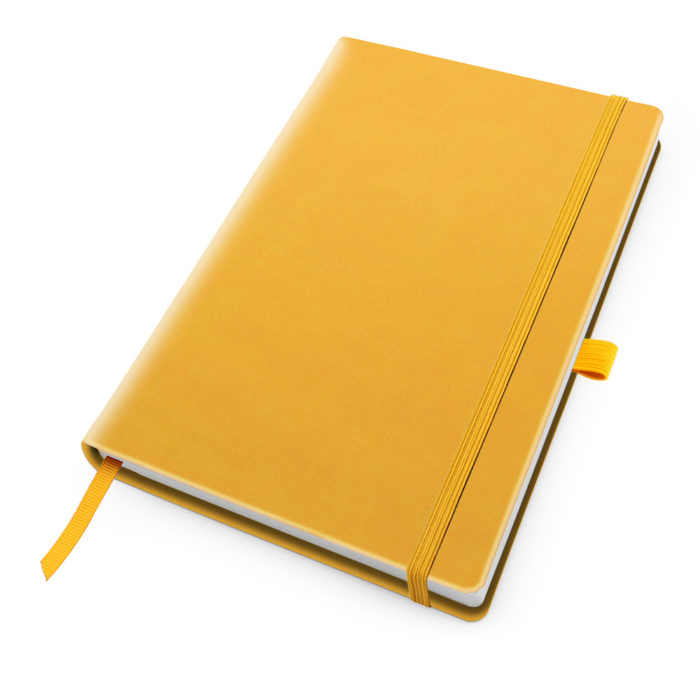 Sunflower Yellow Deluxe Soft Touch A5 Notebook with Elastic Strap & Pen Loop.
