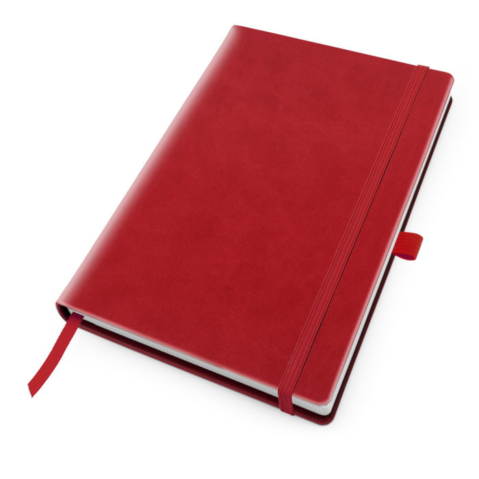 Tomato Red Deluxe Soft Touch A5 Notebook with Elastic Strap & Pen Loop.