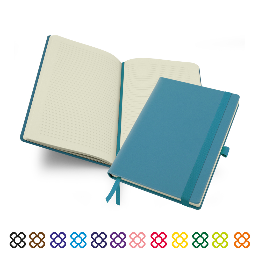 Lifestyle Deluxe A5 Casebound Notebook in a choice of 12 colours.