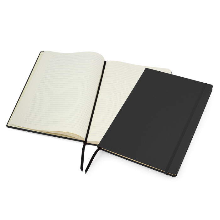 Black Lifestyle A4 Casebound Notebook with Strap