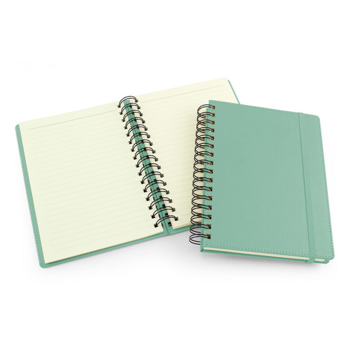 UK Made A5 Wiro Notebook in Peppermint Green