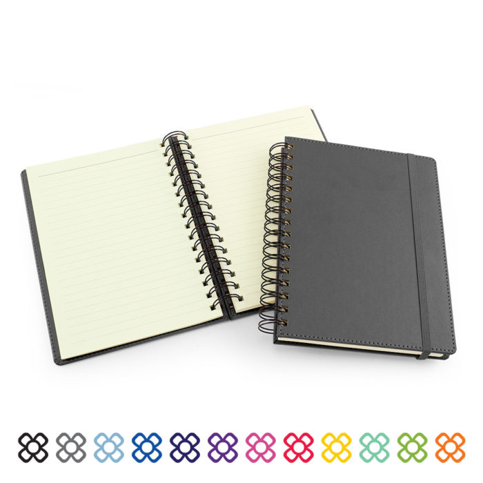 UK Made A5 Wiro Notebook in a choice of 12 colours.
