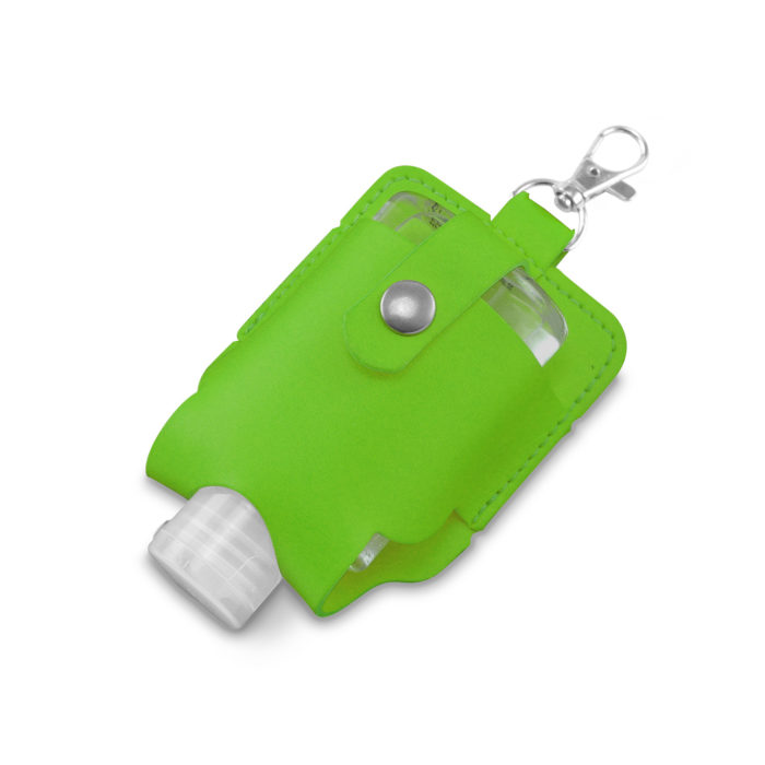Pea Green Soft Touch Hand Sanitiser Pouch with Sanitiser