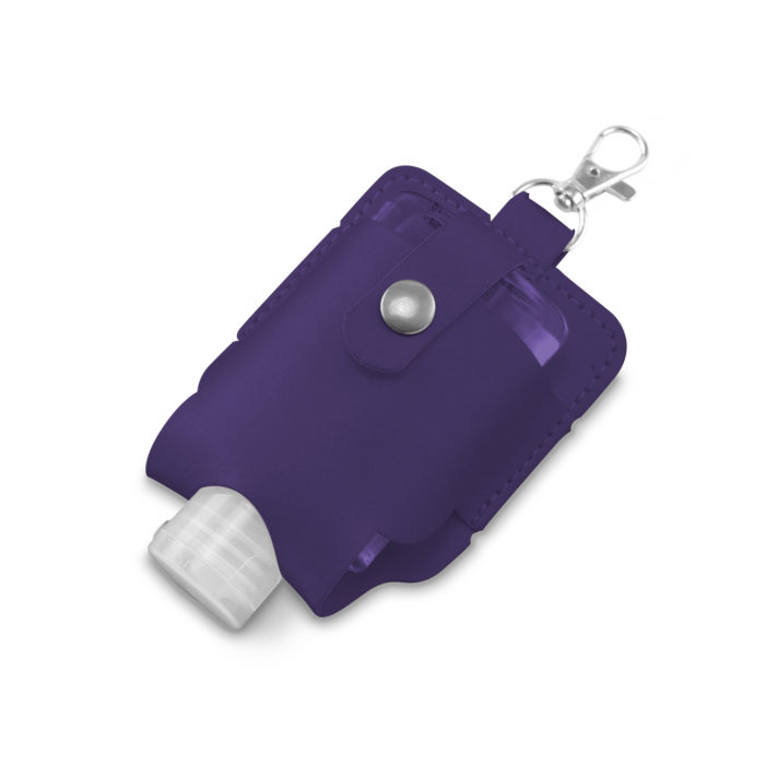Purple Soft Touch Hand Sanitiser Pouch with Sanitiser