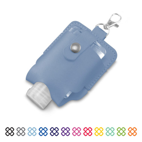 Cesca handsanitiser pouch with a handy clip to keep your sanitiser close to hand at all times.