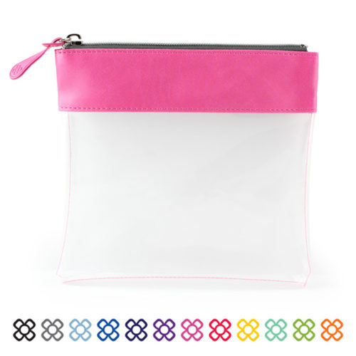 Clear Zipped Travel Pouch with a choice of colours to the top trim.