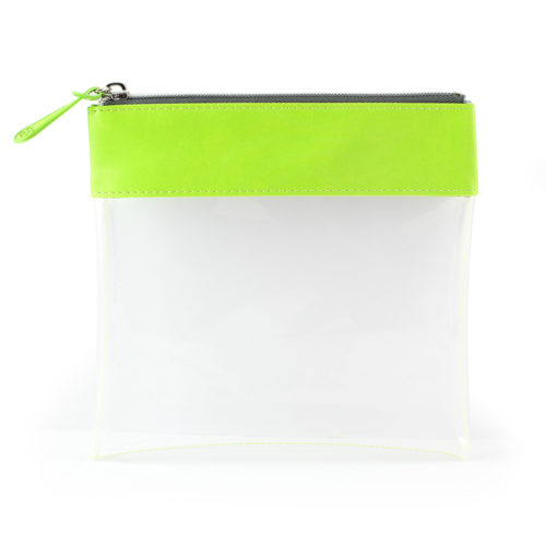 Clear Zipped Travel Pouch with Pea Green Trim.