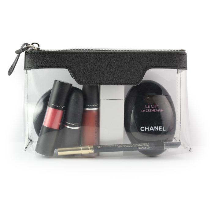 Black Como Zipped Travel or Cosmetics Bag