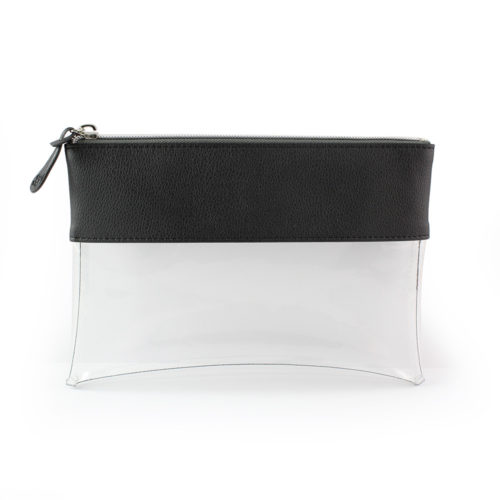 Black Recycled Como Travel Pouch or Pencil Case with a clear body.