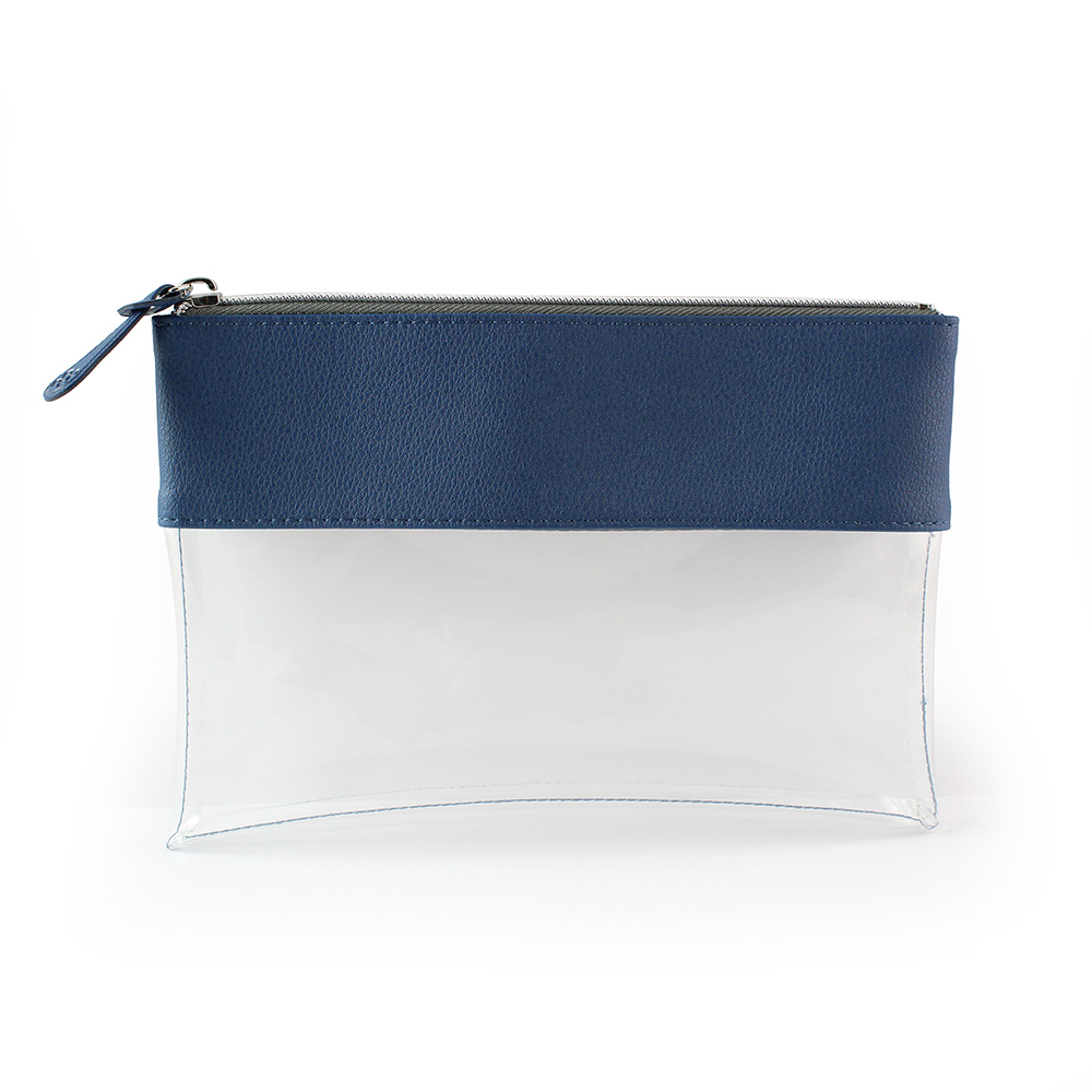 Blue Recycled Como Travel Pouch or Pencil Case with a clear body.
