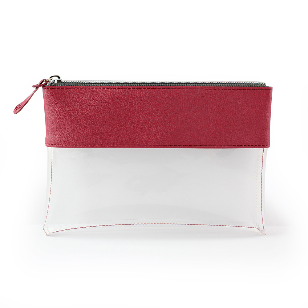 Rasperry Recycled Como Travel Pouch or Pencil Case with a clear body.