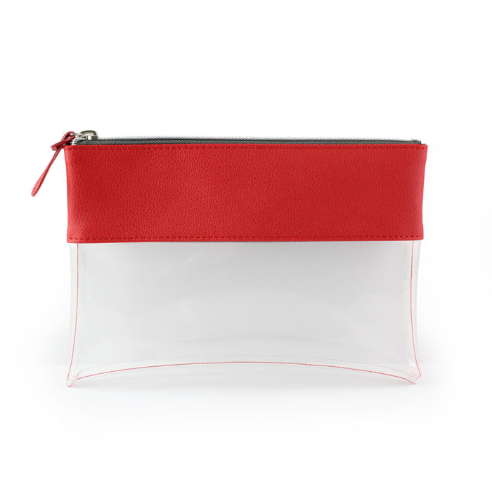 Recycled Como Red Travel Pouch or Pencil Case with a clear body.