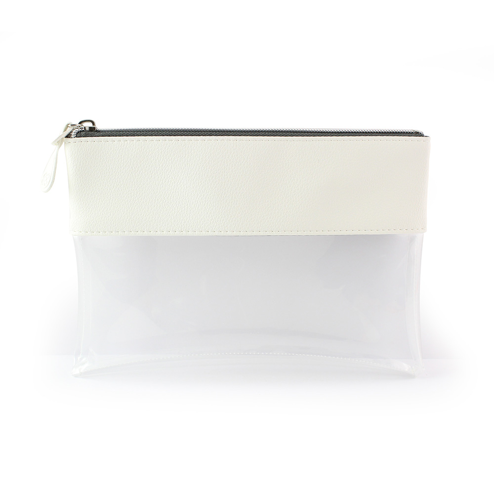White Recycled Como Travel Pouch or Pencil Case with a clear body.