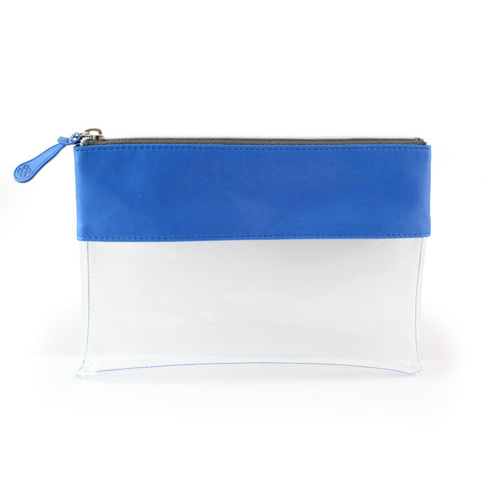 Azure Clear Pouch ideal as a travel pouch or pencil case.