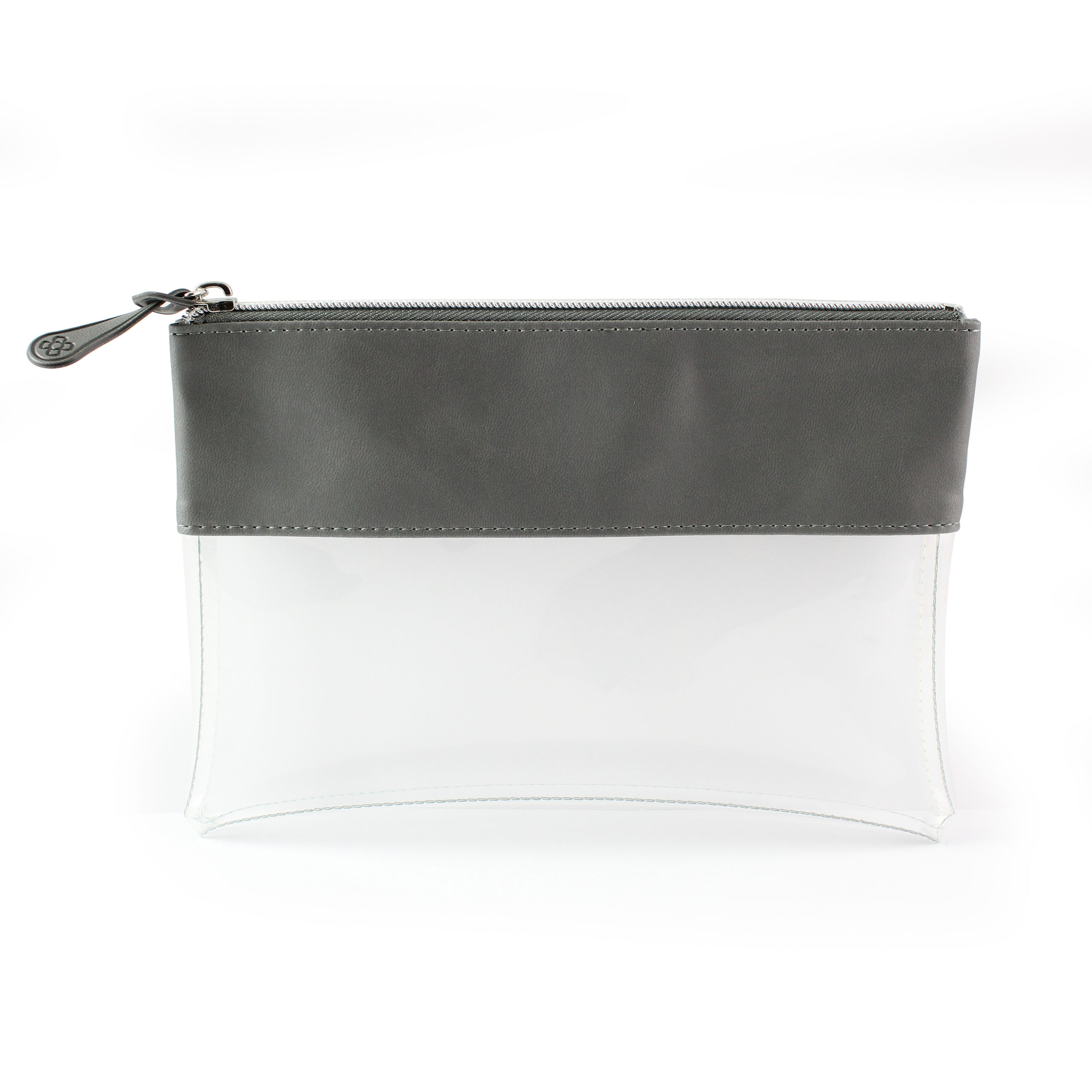Dark Grey Clear Pouch ideal as a travel pouch or pencil case.