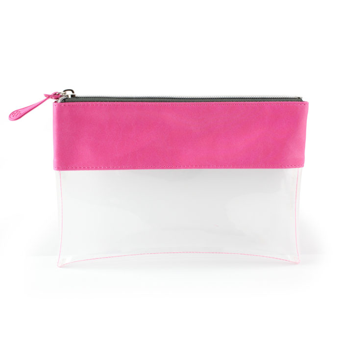 Hot Pink Clear Pouch ideal as a travel pouch or pencil case.