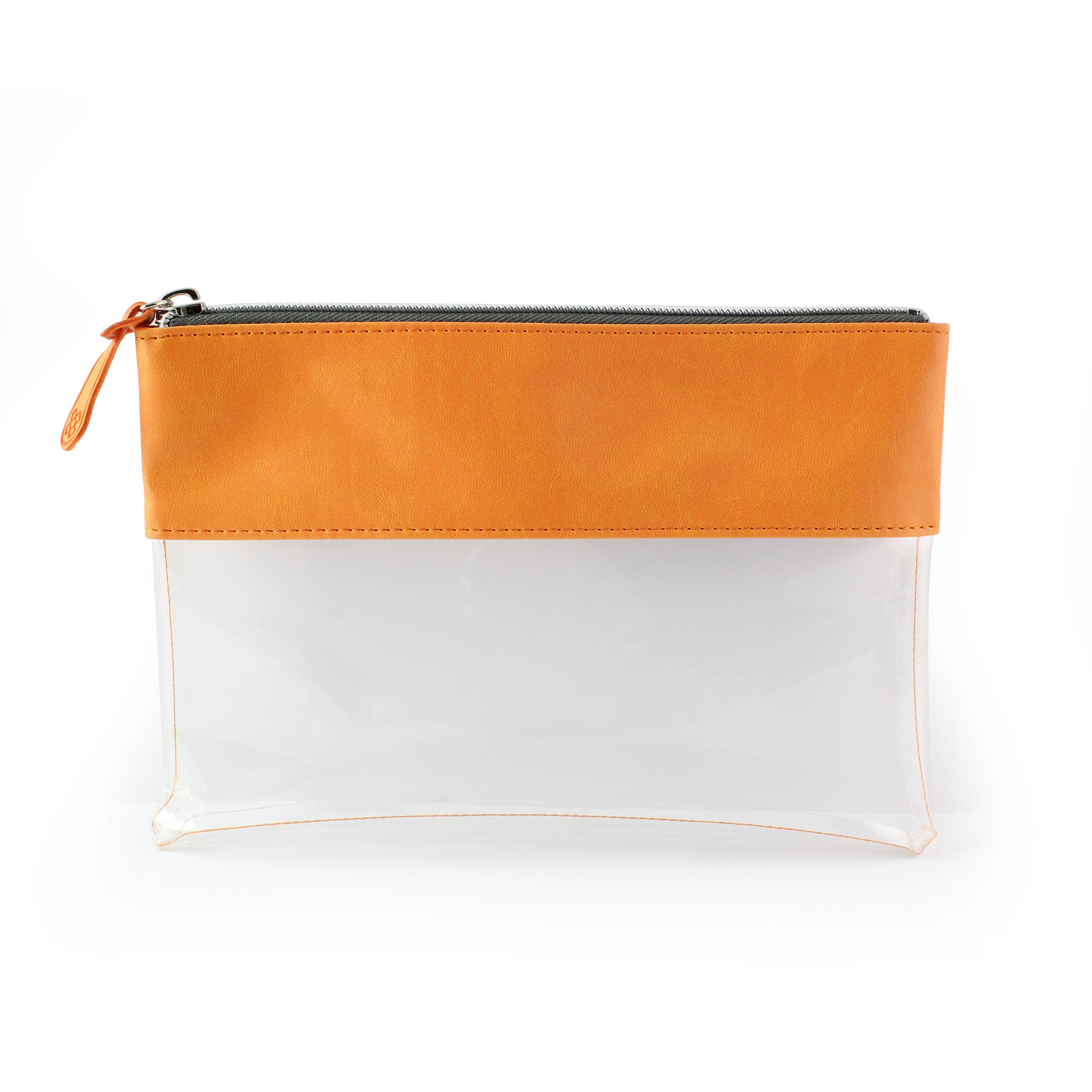 Orange Clear Pouch ideal as a travel pouch or pencil case.