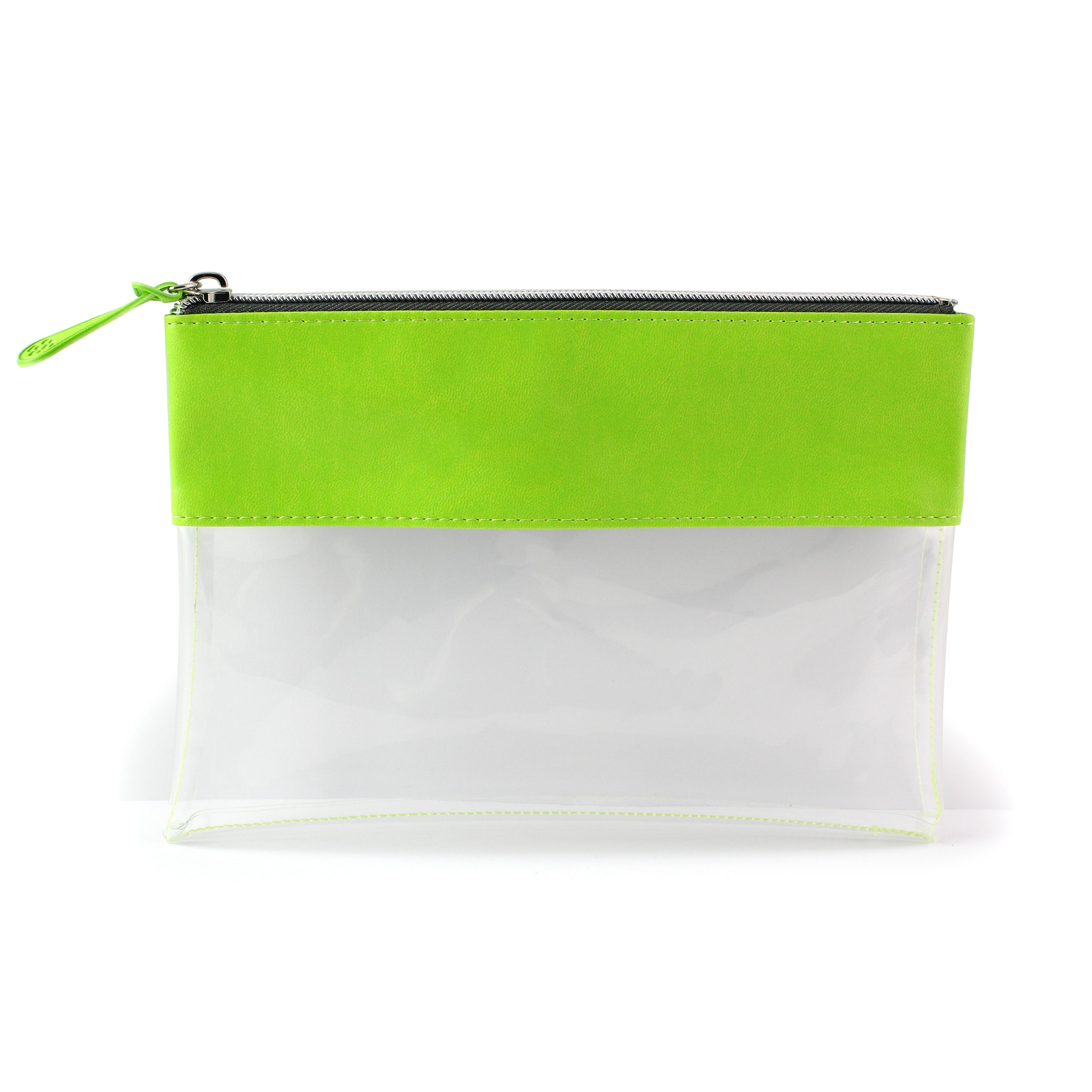 Pea Green Clear Pouch ideal as a travel pouch or pencil case.