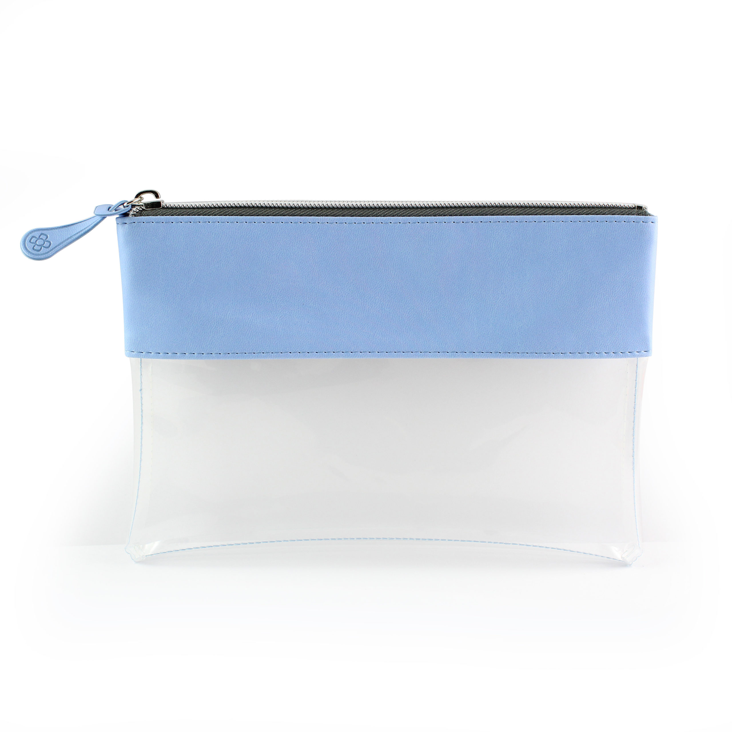 Powder Blue Clear Pouch ideal as a travel pouch or pencil case.
