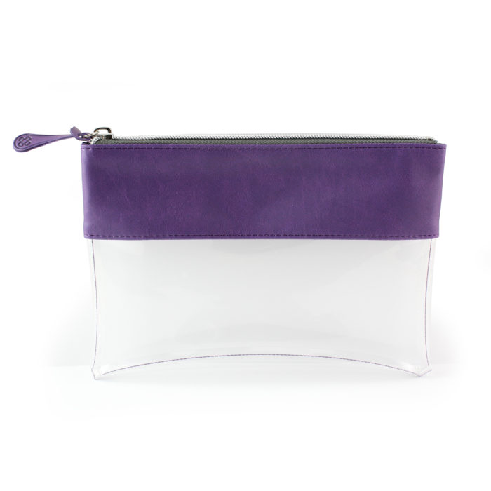 Purple Clear Pouch ideal as a travel pouch or pencil case.