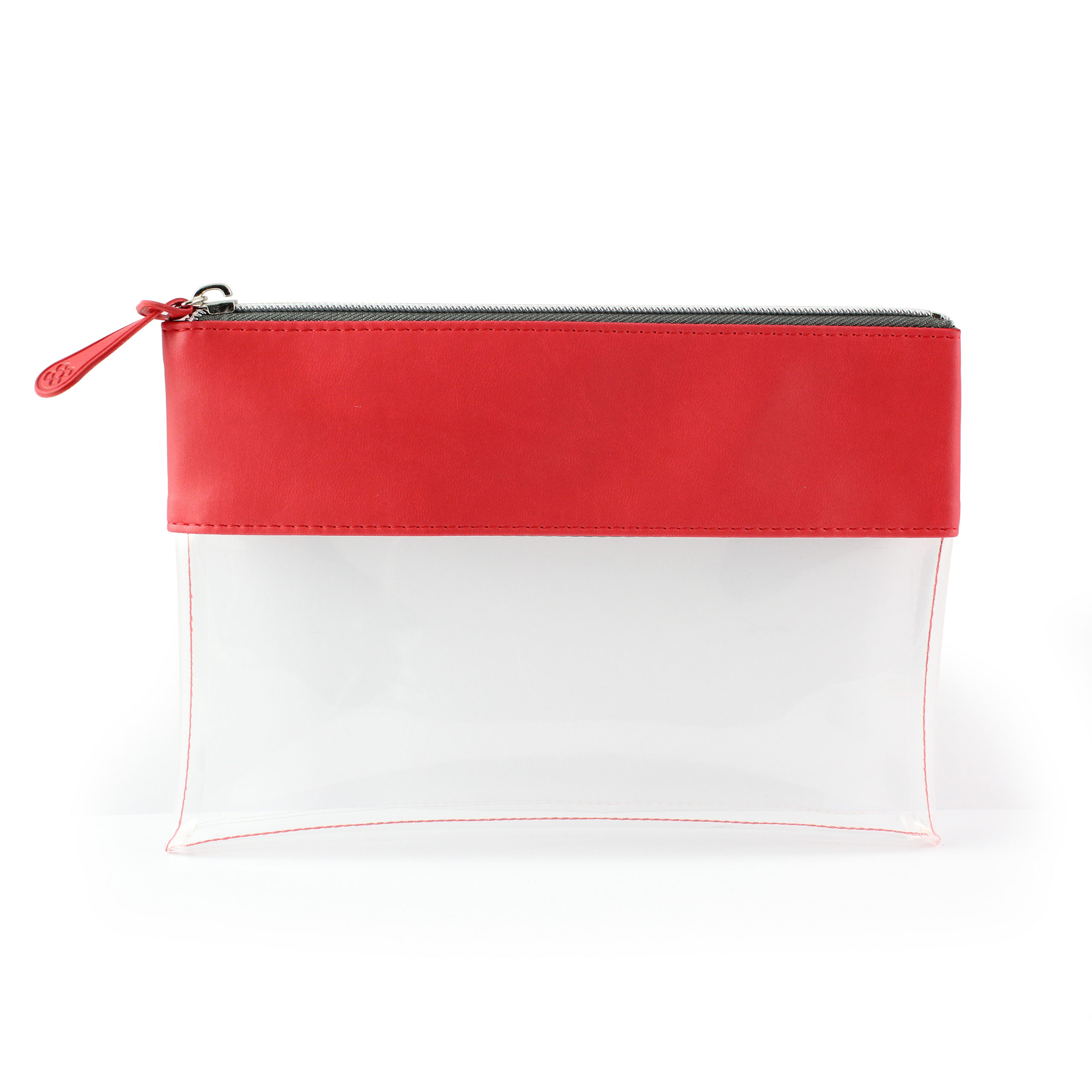 Tomato Red Clear Pouch ideal as a travel pouch or pencil case.