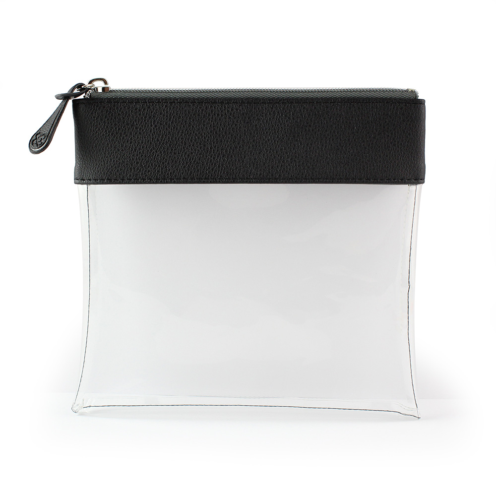 Black Recycled Large Zipped Travel Pouch in a choice of 5 colours. Clear body for ease of finding your accessories.