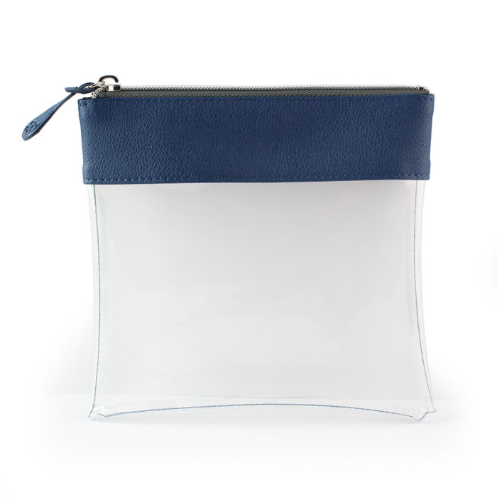 Blue Recycled Large Zipped Travel Pouch in a choice of 5 colours. Clear body for ease of finding your accessories.
