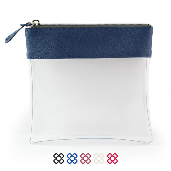 Recycled Large Zipped Travel Pouch in a choice of 5 colours. Clear body for ease of finding your accessories.