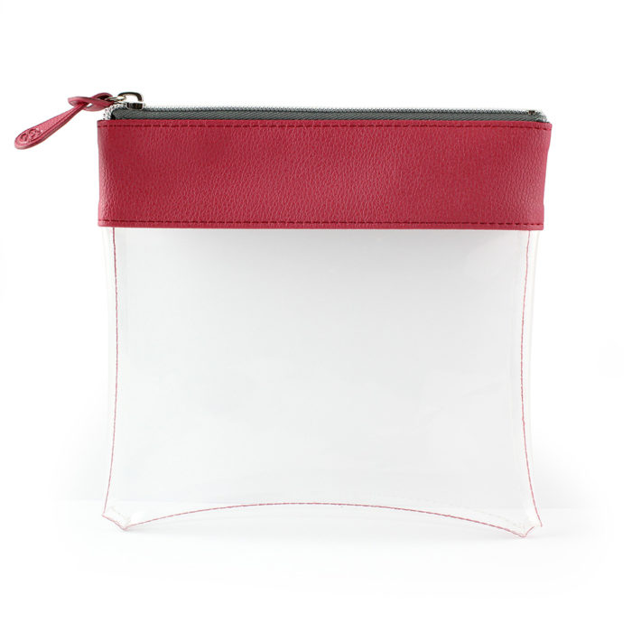 Raspberry Recycled Large Zipped Travel Pouch in a choice of 5 colours. Clear body for ease of finding your accessories.