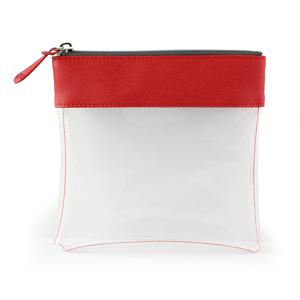 Red Recycled Large Zipped Travel Pouch in a choice of 5 colours. Clear body for ease of finding your accessories.