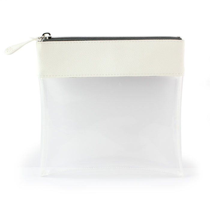 White Recycled Large Zipped Travel Pouch in a choice of 5 colours. Clear body for ease of finding your accessories. Matching zip pull.