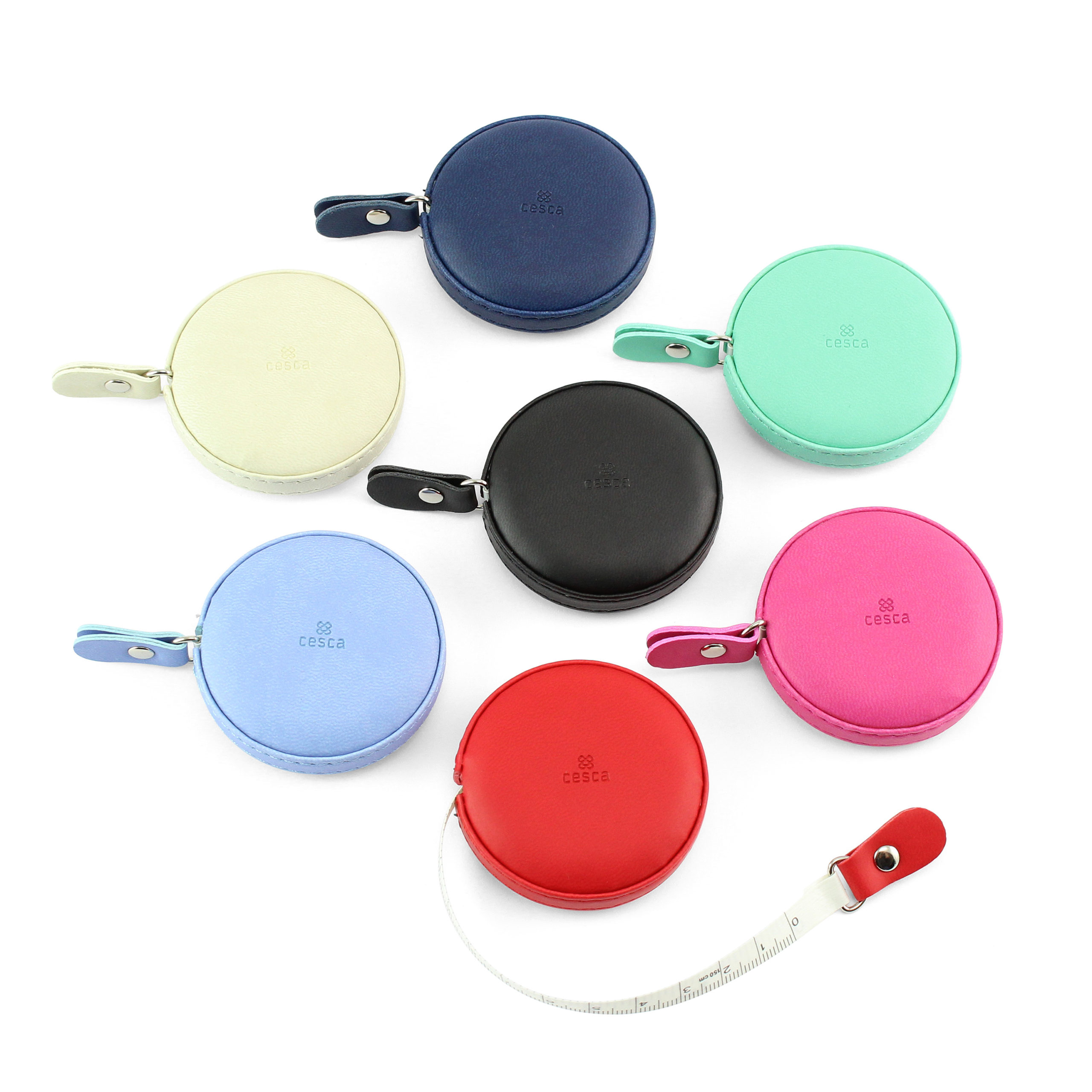 Round Retractable Tape Measure, in a soft touch vegan finish. In a choice of 7 colours.