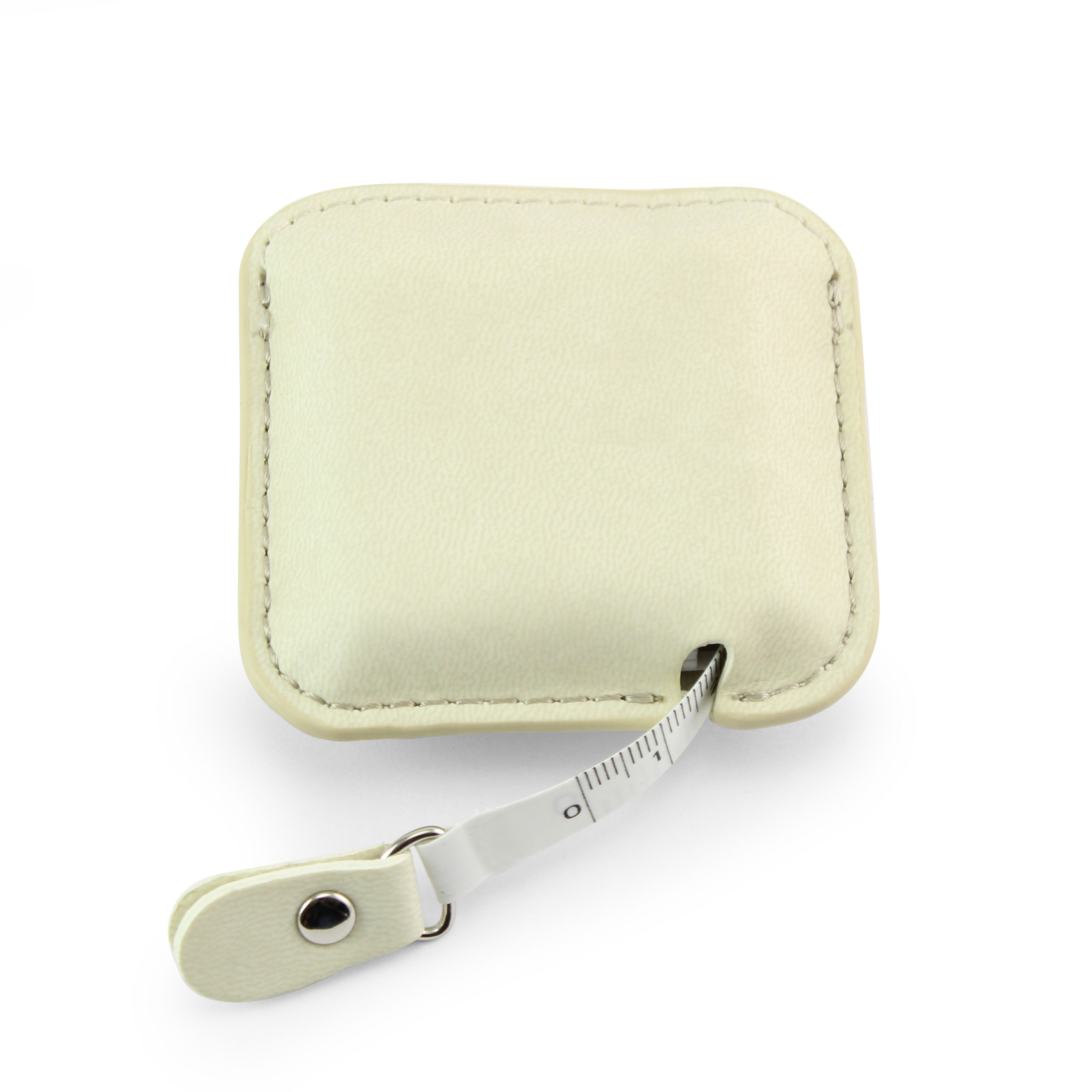 Ivory Square Retractable Tape Measure, in a soft touch vegan finish.