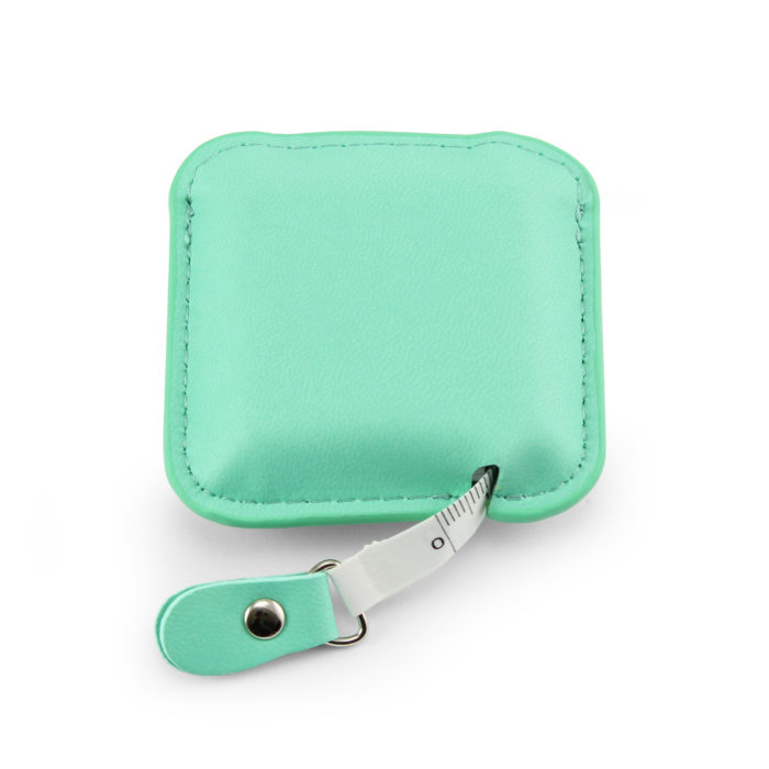 Peppermint Square Retractable Tape Measure, in a soft touch vegan finish.