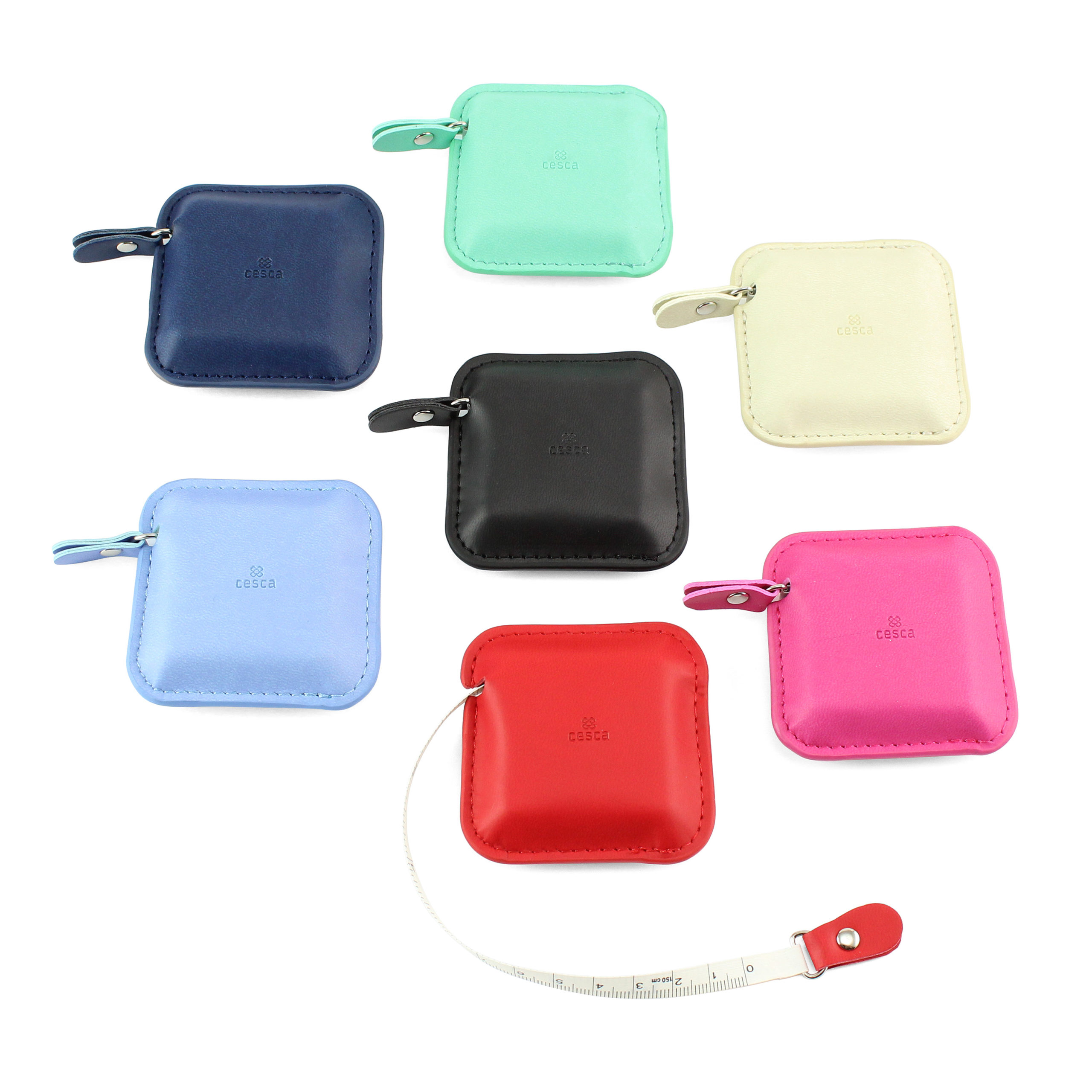 Square Retractable Tape Measure, in a soft touch vegan finish. In a choice of 7 colours.