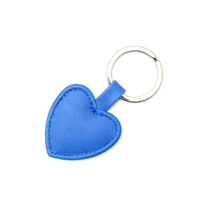 Azure Heart Shaped Key Fob, in a soft touch vegan finish.