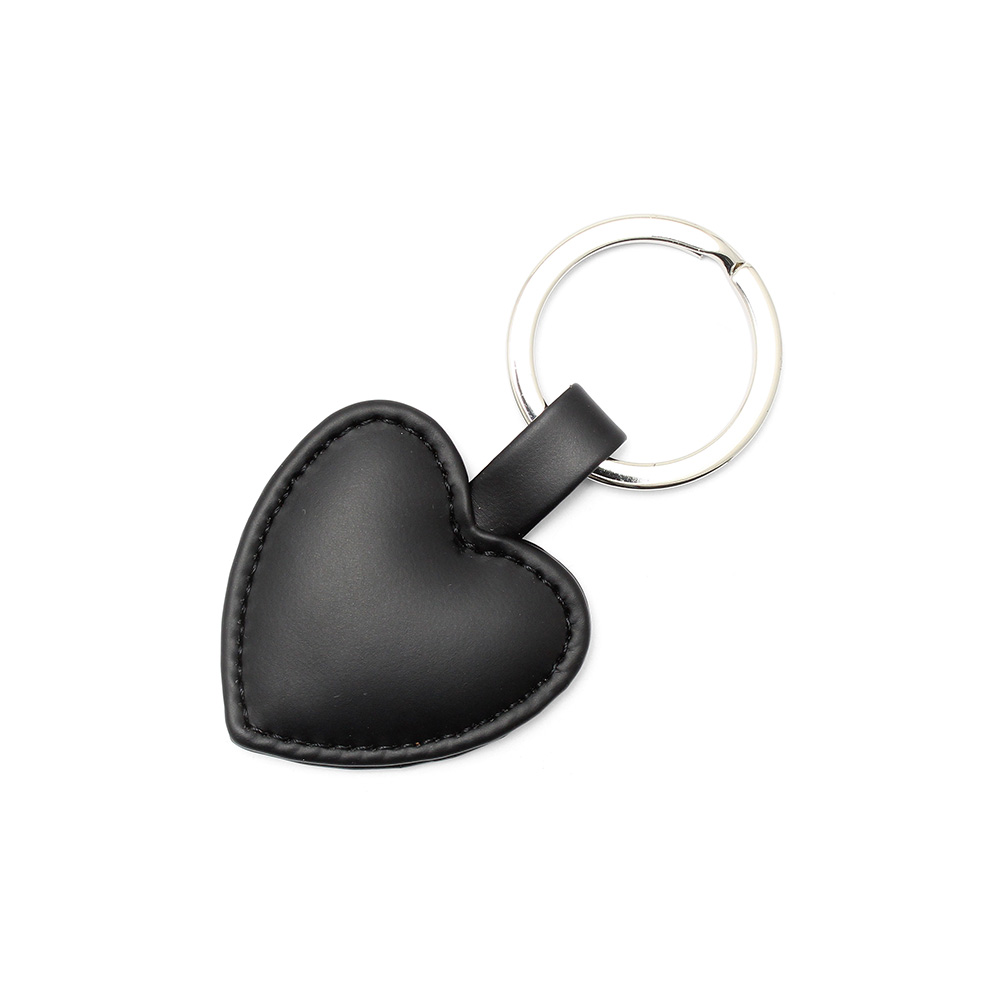 Black Heart Shaped Key Fob, in a soft touch vegan finish.