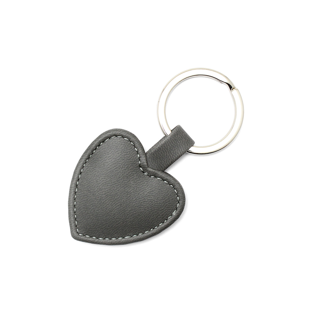 Dark Grey Heart Shaped Key Fob, in a soft touch vegan finish.